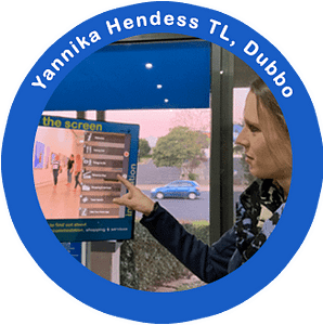 Using Touchscreen at Dubbo Visitor Information Centre
